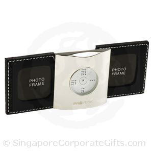 Designer Leather Travel Alarm Clock with Photo Frame