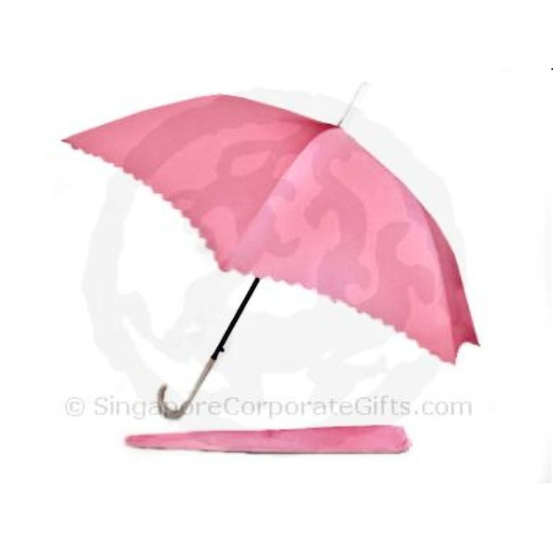Umbrella with scallop edged and white leather handle