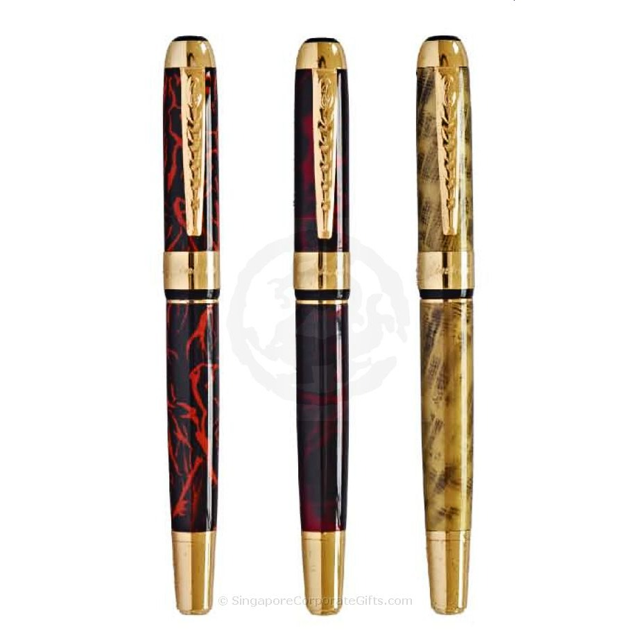 Exclusive Metal Pen with LIne Motif 250-1 (Roller,Fountain