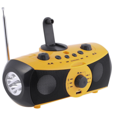 Dynamo torchlight with radio, speaker, siren, phone charger