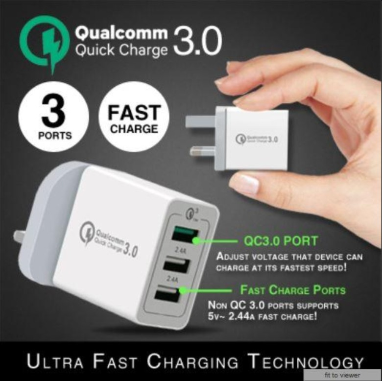 Qualcomm Quick Charge 3.0 Ultra Fast Charger (3 Ports)