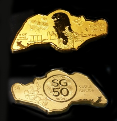 SG50 Singapore Map 999.9 Gold Coin (2 Oz) Limited Edition