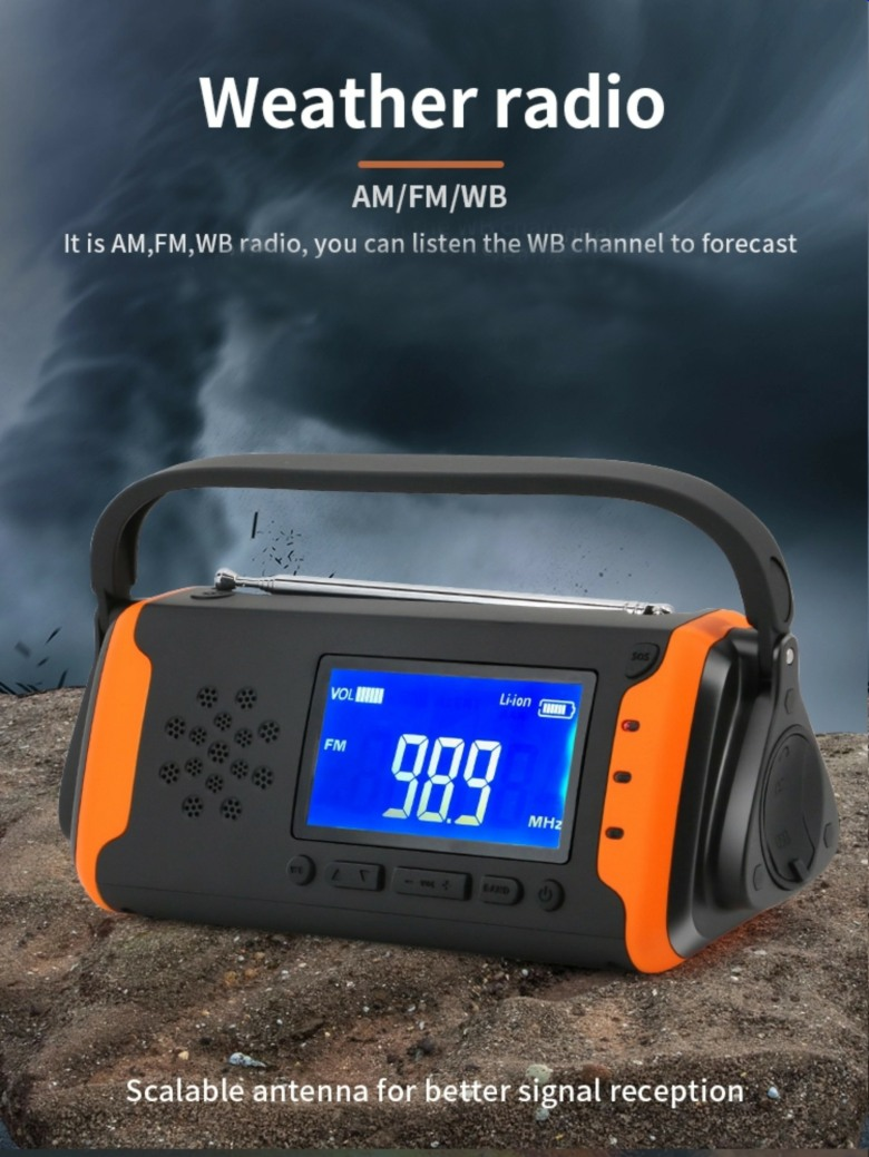 Emergency AM, FM, SW radio (solar, hand cranked)