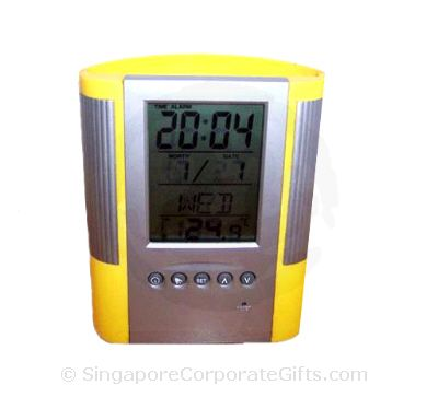 Pen Holder with Digital Clock, Calendar, Thermometer (Yellow)