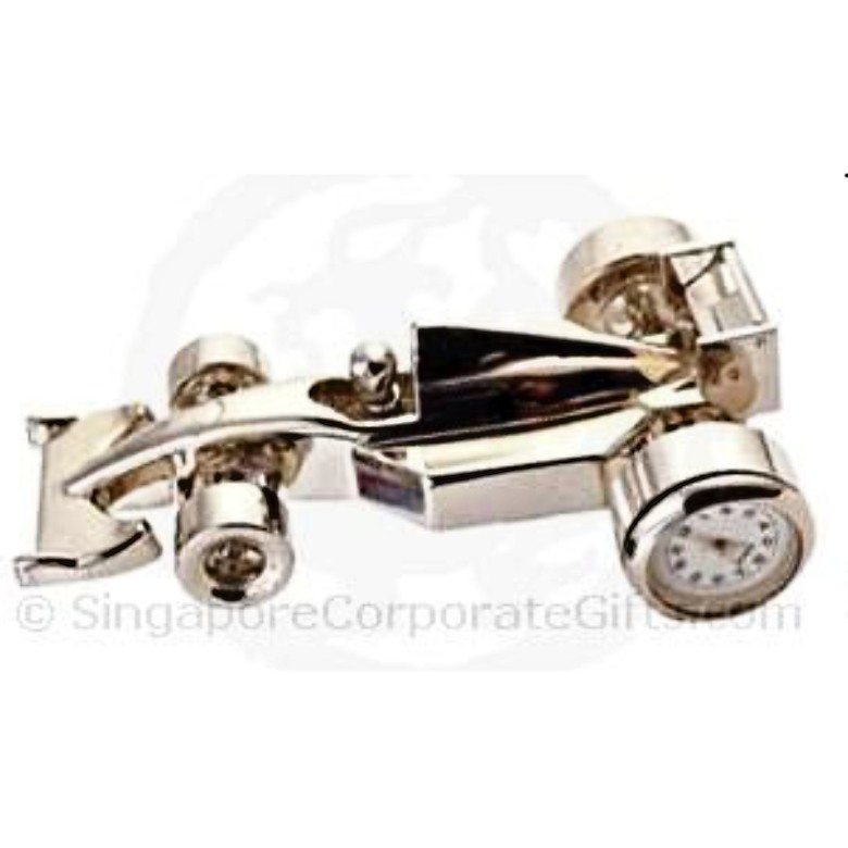 Metal F1 model with clock- silver