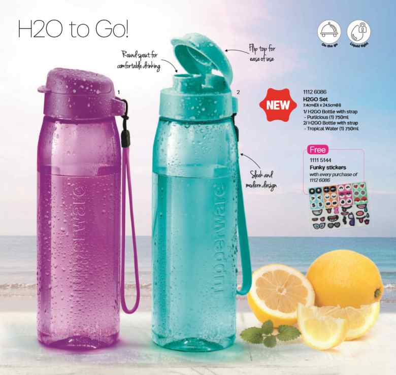 Flip Top Water Bottles (H2O To Go!) 750ml