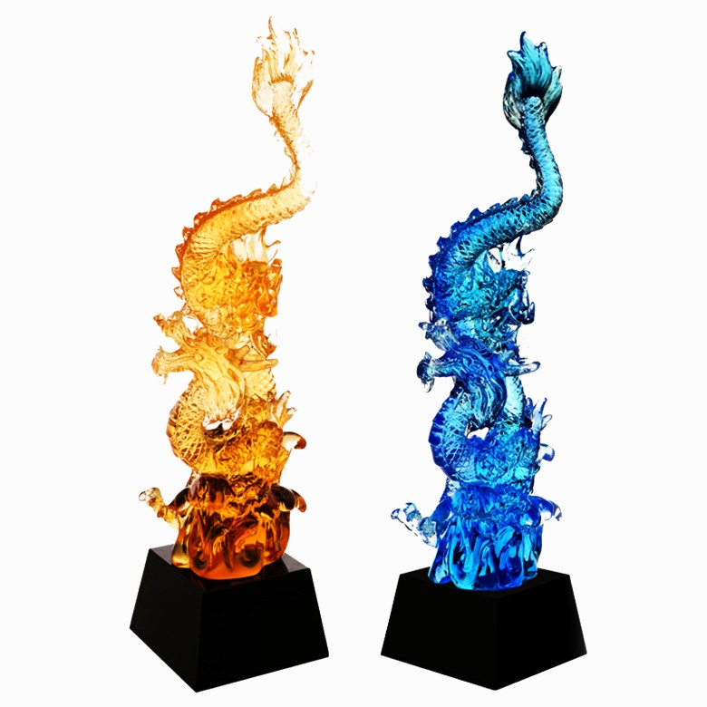 LiuLi crystal Trophy -Dragon - JB1015