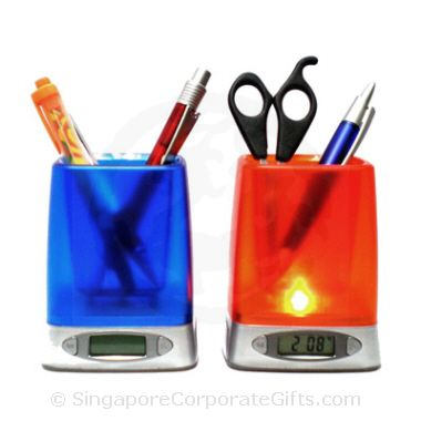 Pen Holder with Digital Clock, Calendar, Thermometer (Silver)